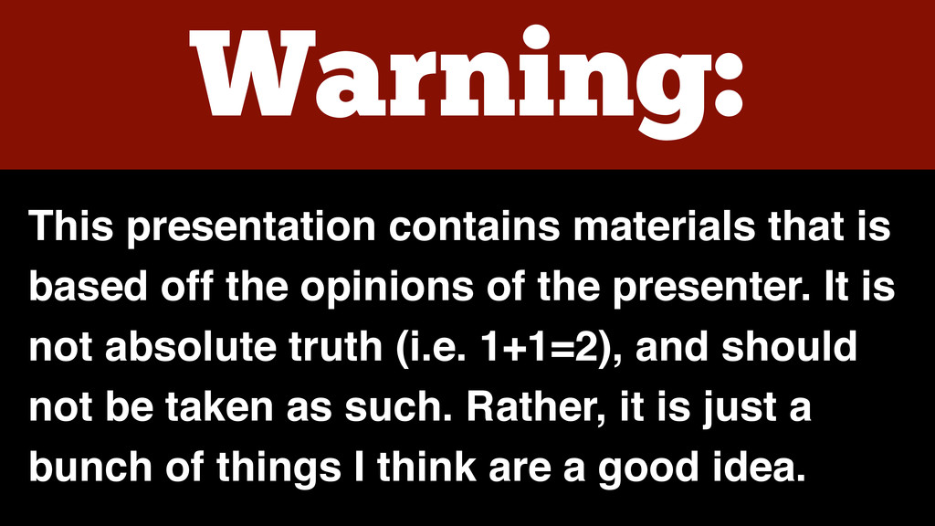 Warning: This presentation contains materials t...