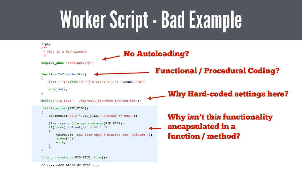 <?php! /**! * This is a bad example! */! ! requ...