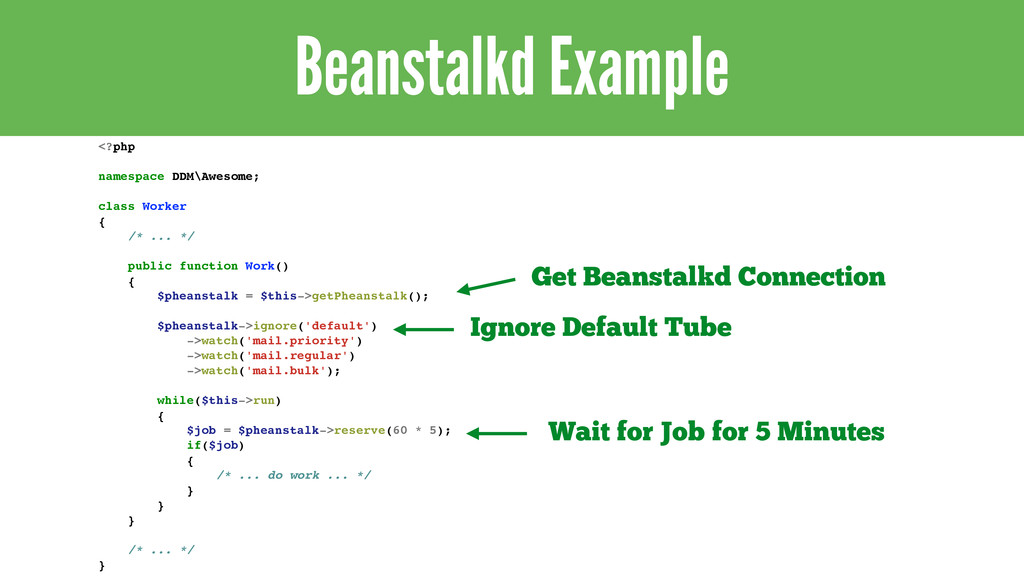 Beanstalkd Example <?php! ! namespace DDM\Aweso...