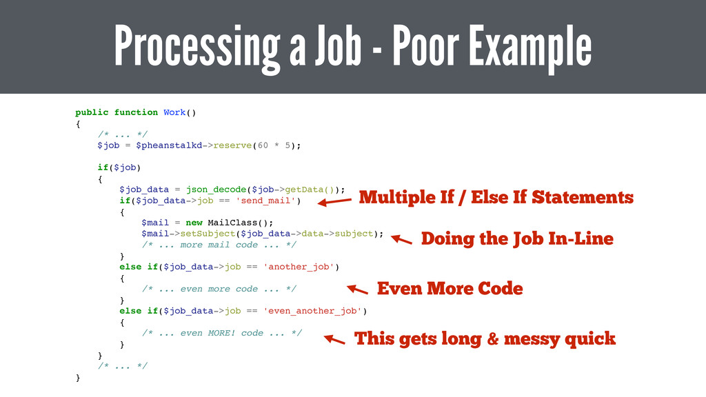 Processing a Job - Poor Example public function...