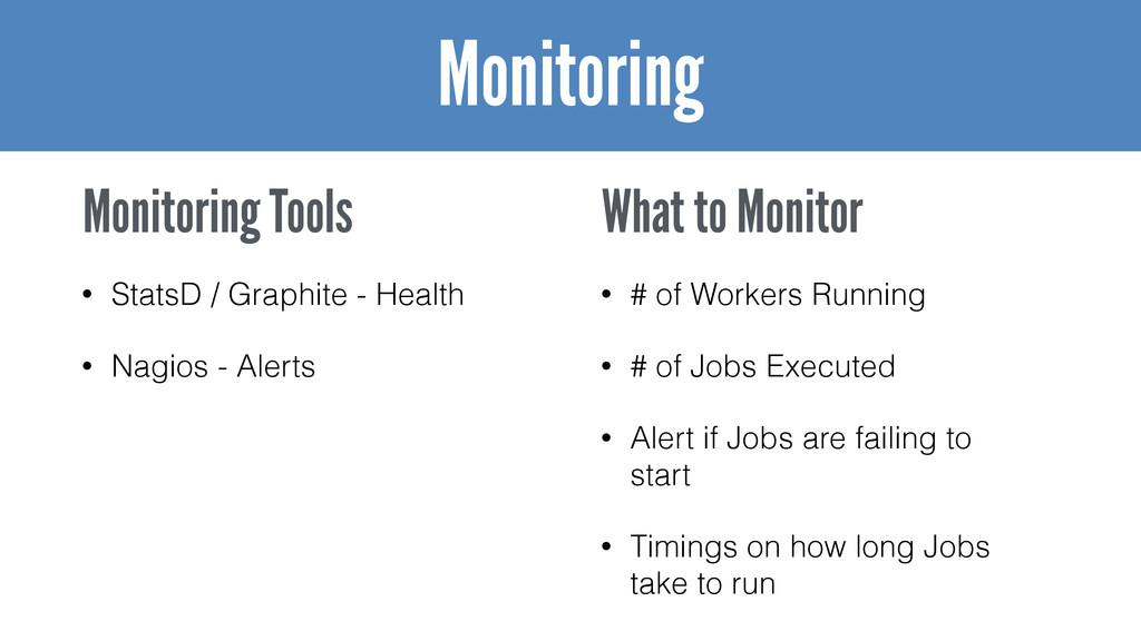 • StatsD / Graphite - Health • Nagios - Alerts ...