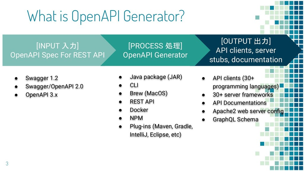 What is OpenAPI Generator? 3 [OUTPUT 出力] API cl...