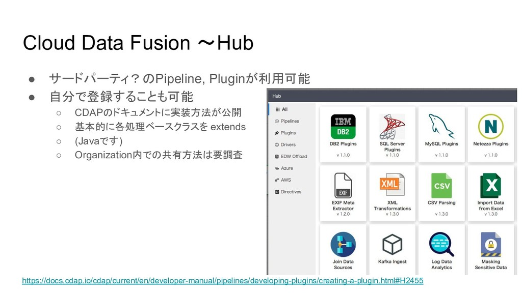 Cloud Data Fusion 〜Hub ● サードパーティ?のPipeline, Plu...