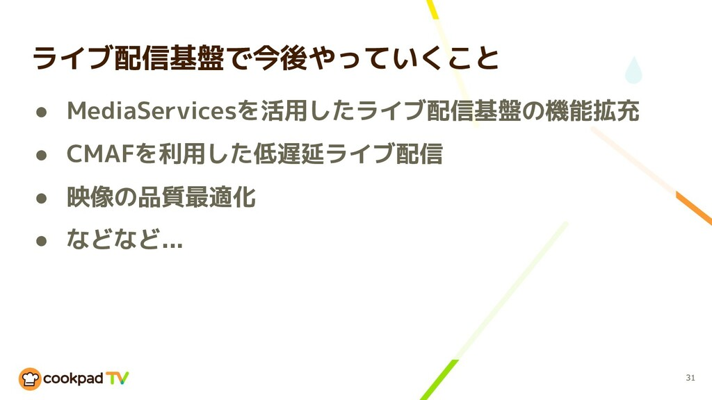 ● MediaServicesを活用したライブ配信基盤の機能拡充 ● CMAFを利用した低遅延...