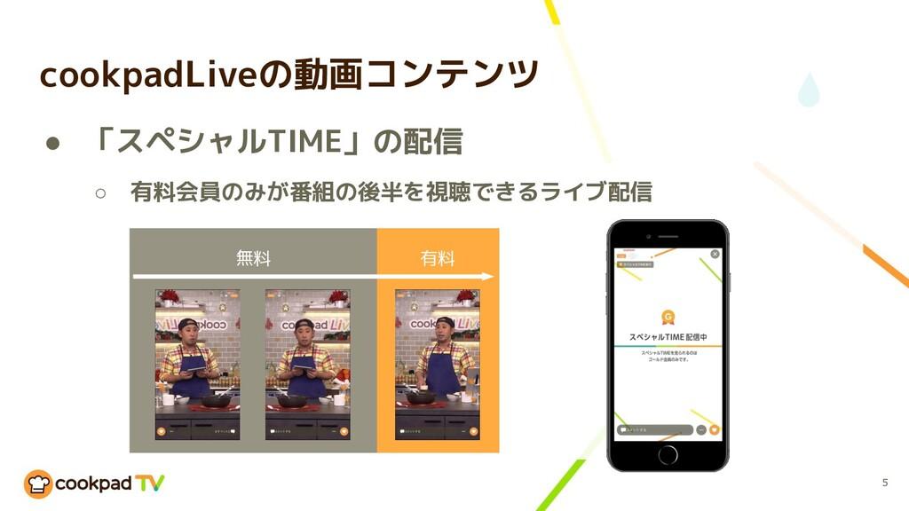 cookpadLiveの動画コンテンツ 5 ● 「スペシャルTIME」の配信 ○ 有料会員のみ...