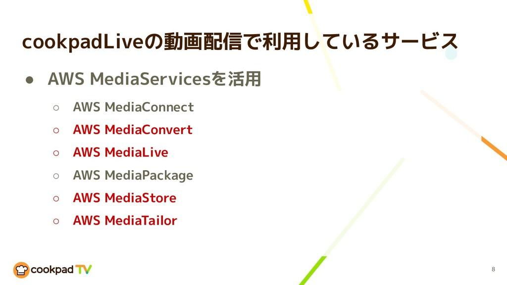 cookpadLiveの動画配信で利用しているサービス ● AWS MediaServices...