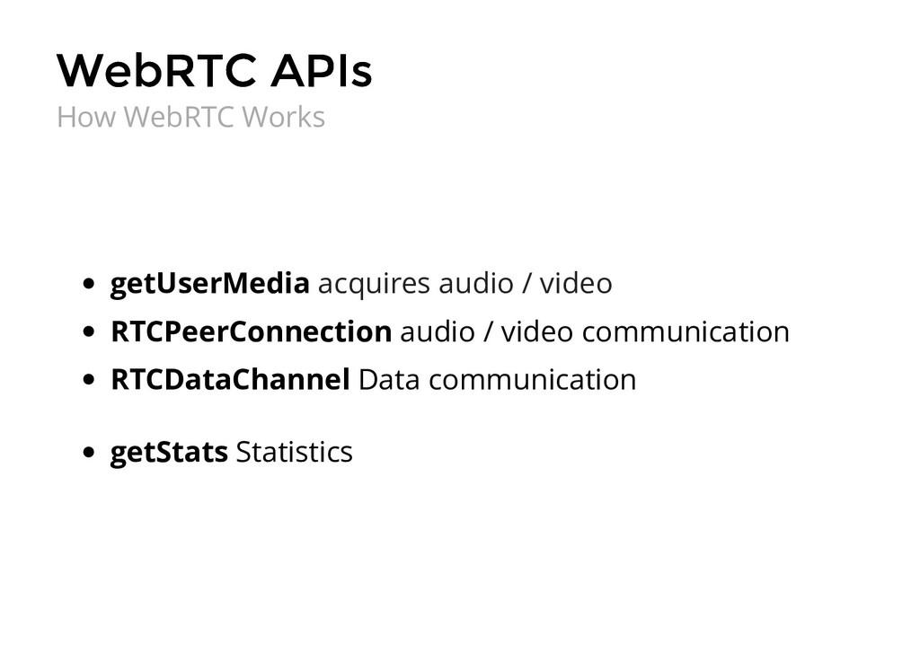 WebRTC APIs WebRTC APIs getUserMedia acquires a...