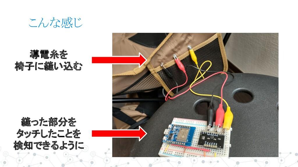こんな感じ 導電糸を 椅子に縫い込む 縫った部分を タッチしたことを 検知できるように