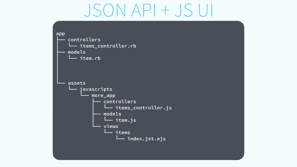 JSON API + JS UI ! app ├── controllers │ └── it...