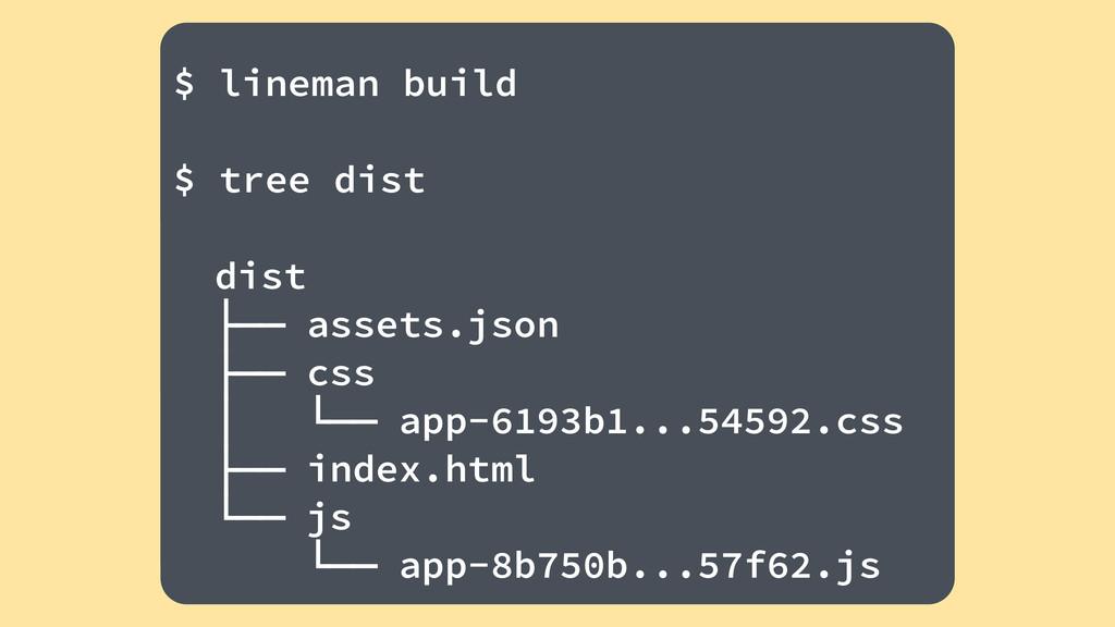 ! $ lineman build ! $ tree dist ! dist ├── asse...
