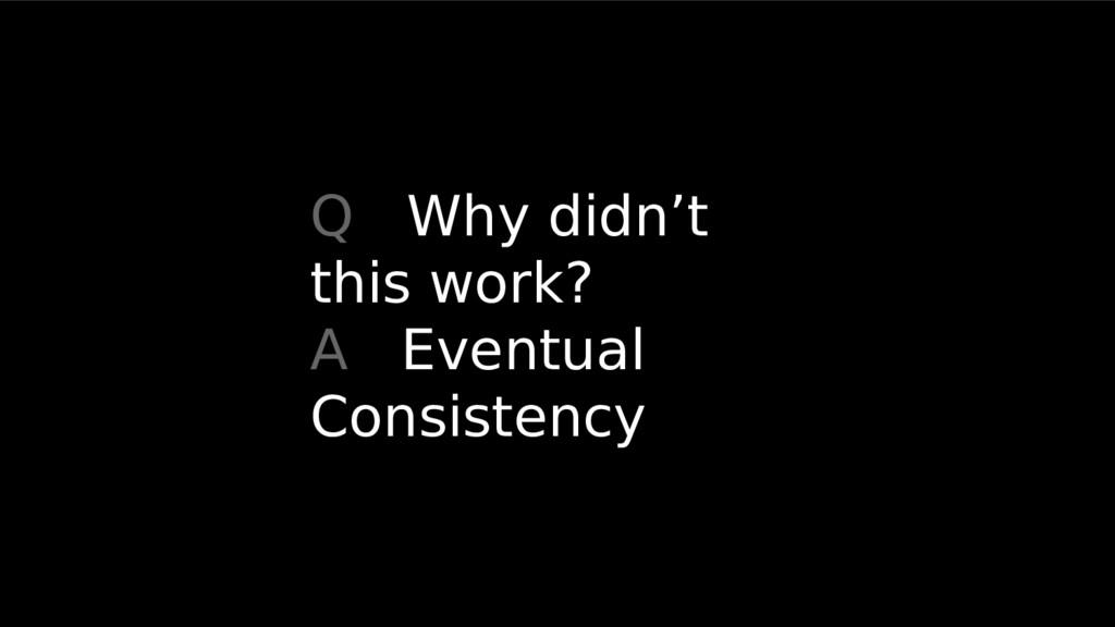 Q Why didn't this work? A Eventual Consistency
