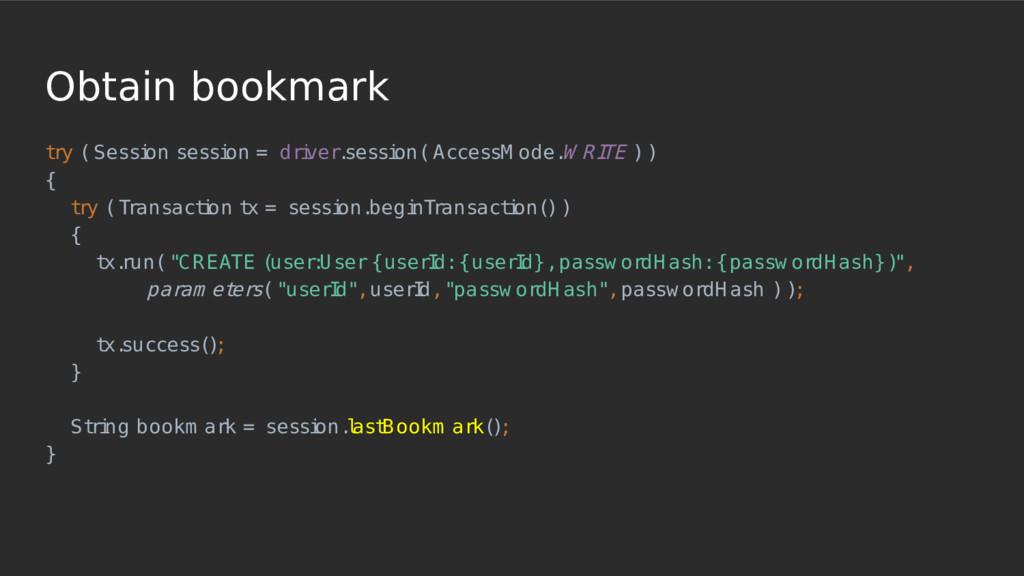 Obtain bookmark t ry ( Sessi on sessi on = dri ...