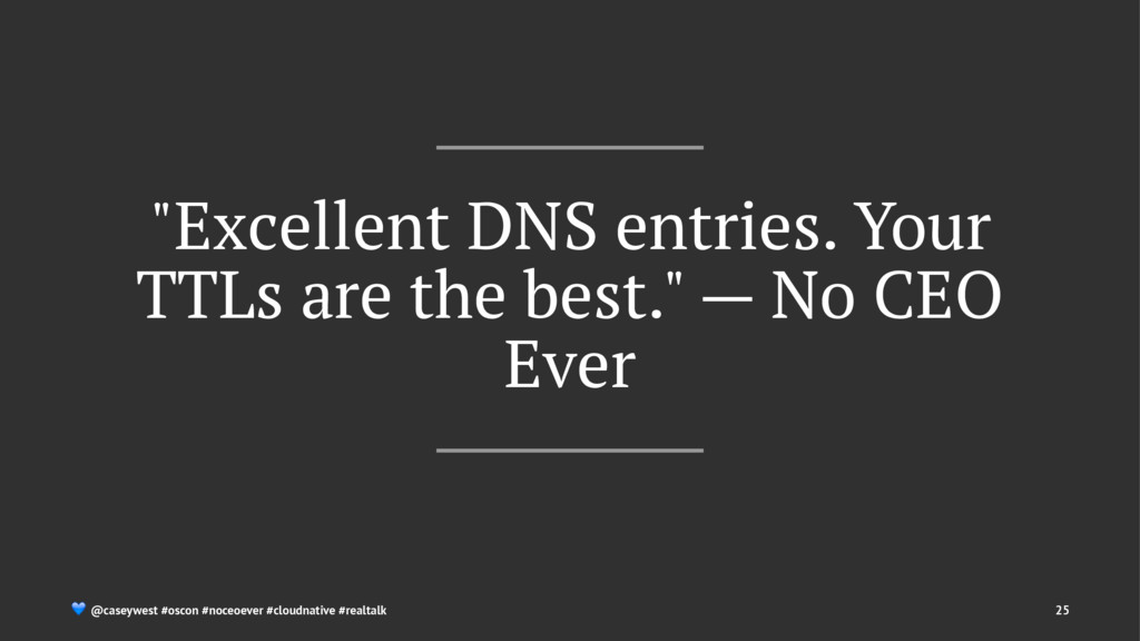 """Excellent DNS entries. Your TTLs are the best...."