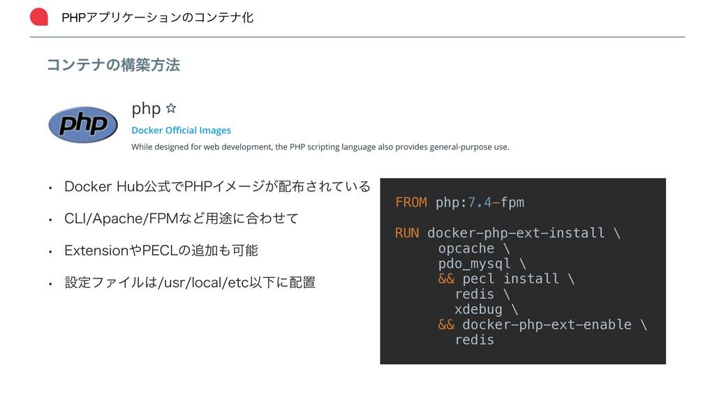 PHPΞϓϦέʔγϣϯͷίϯςφԽ ίϯςφͷߏஙํ๏ ɹFROM php:7.4-fpm ɹ...