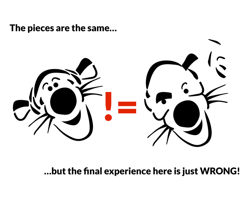 != The pieces are the same… …but the final exper...