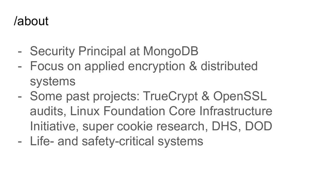 /about - Security Principal at MongoDB - Focus ...
