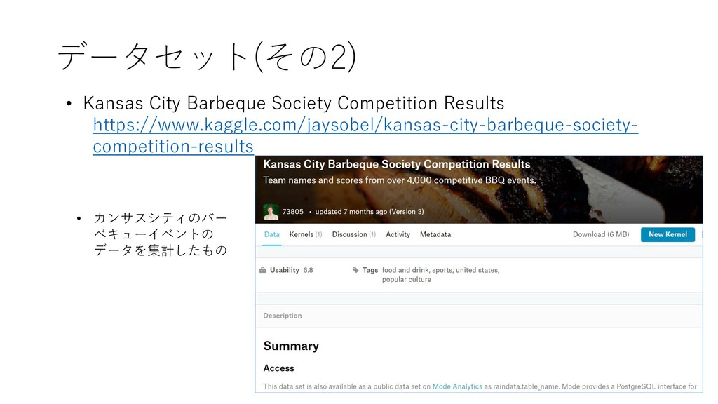 データセット(その2) • Kansas City Barbeque Society Comp...