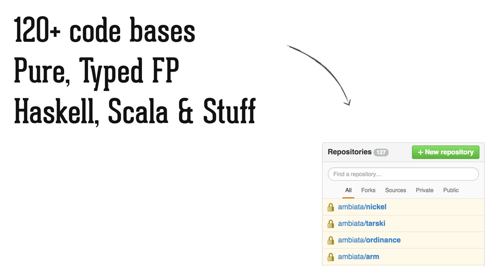 120+ code bases Pure, Typed FP Haskell, Scala &...