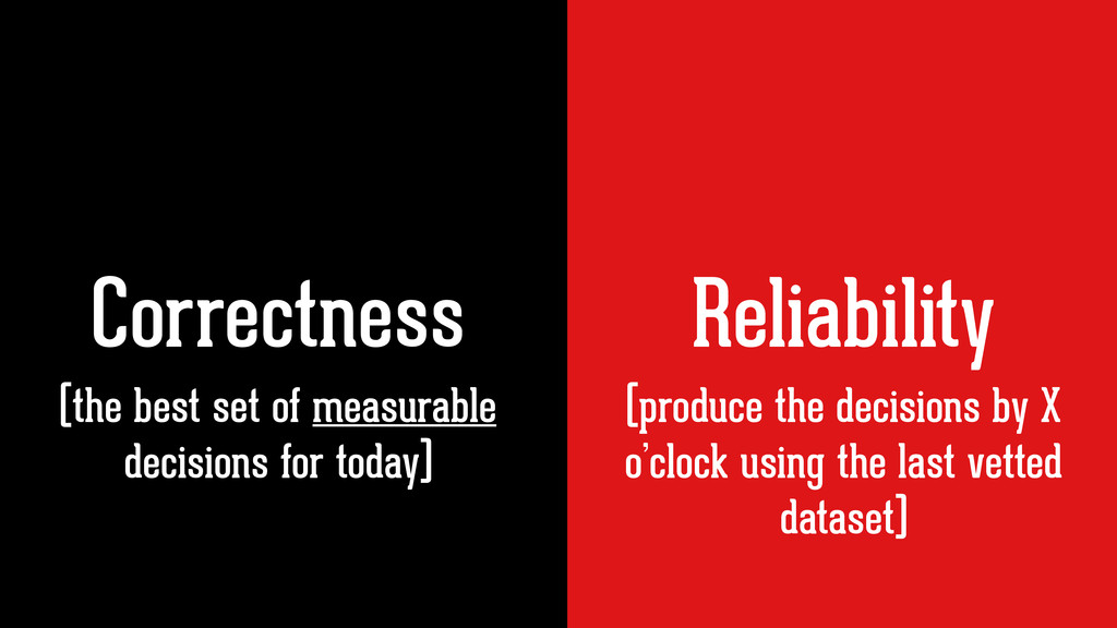 Correctness Reliability (produce the decisions ...