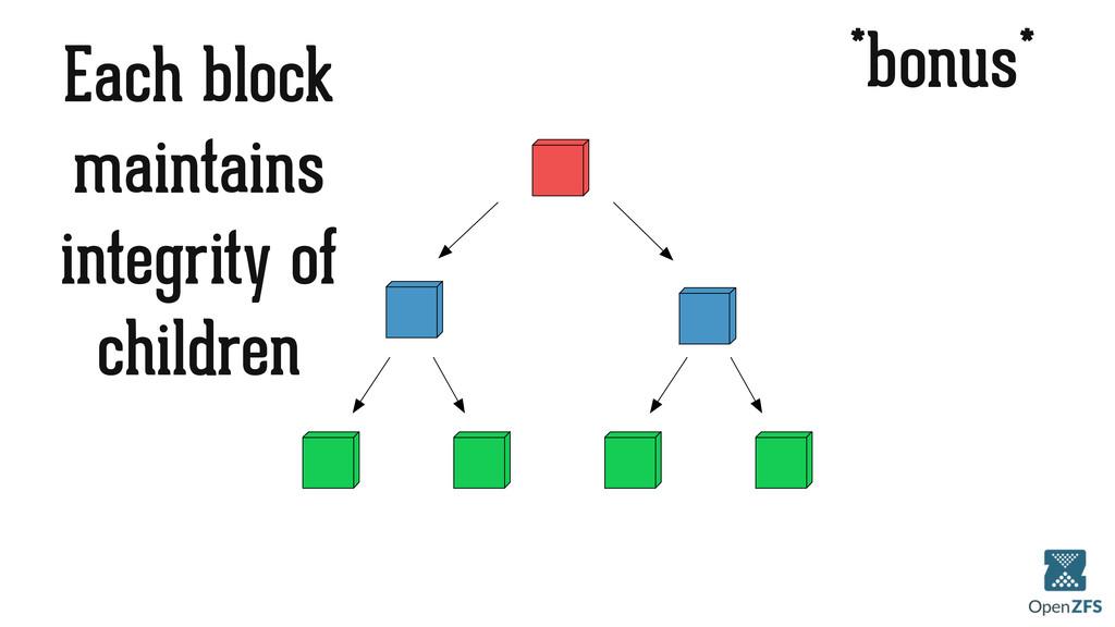 *bonus* Each block maintains integrity of child...