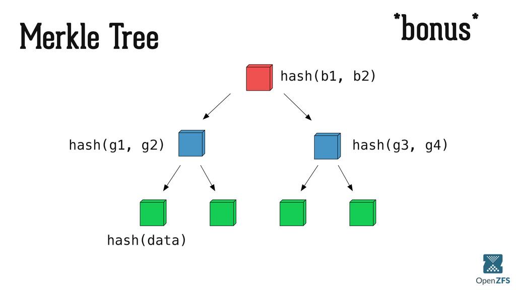 *bonus* Merkle Tree hash(b1, b2) hash(g1, g2) h...