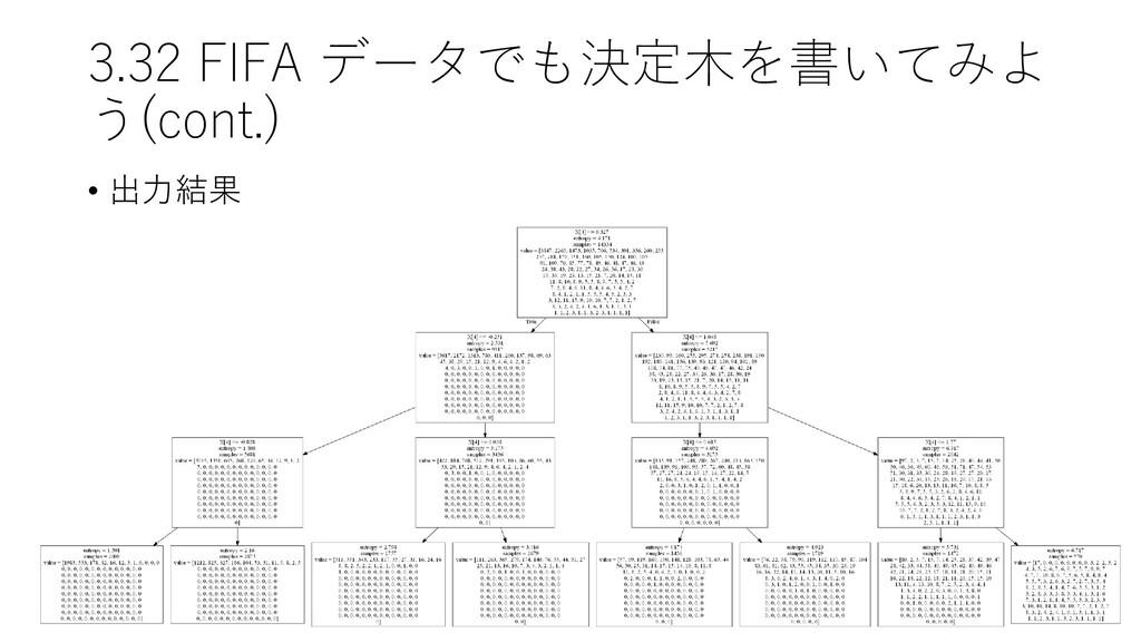 3.32 FIFA データでも決定木を書いてみよ う(cont.) • 出力結果