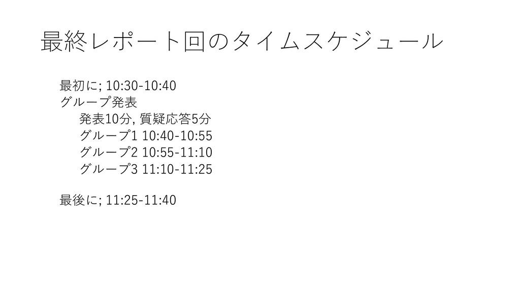 最終レポート回のタイムスケジュール 最初に; 10:30-10:40 グループ発表 発表10分...