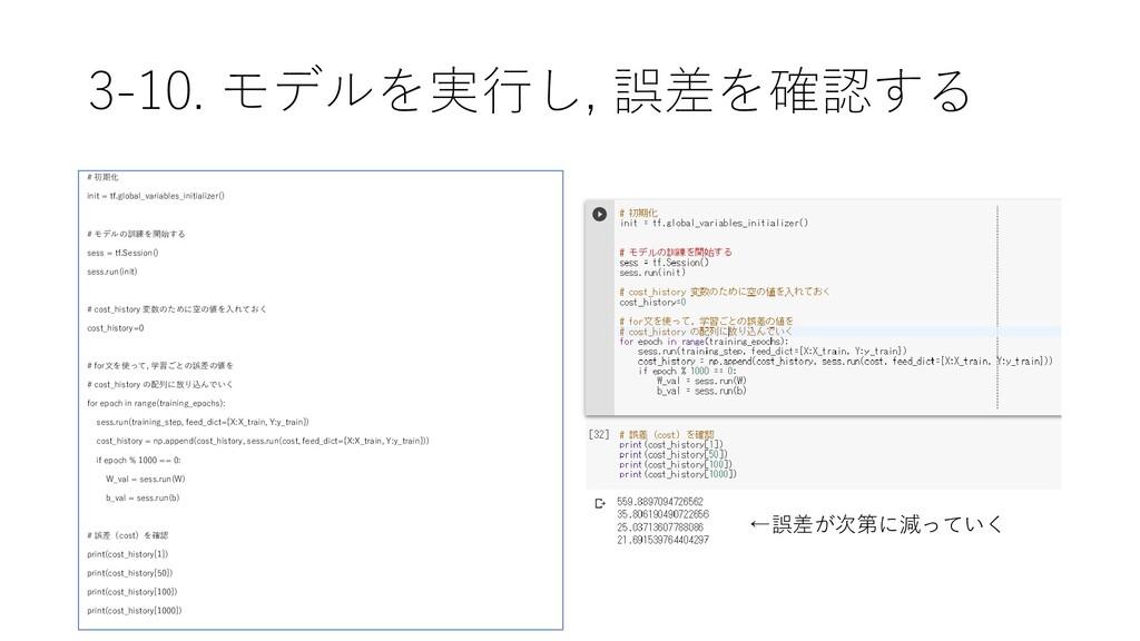 3-10. モデルを実行し, 誤差を確認する # 初期化 init = tf.global_v...