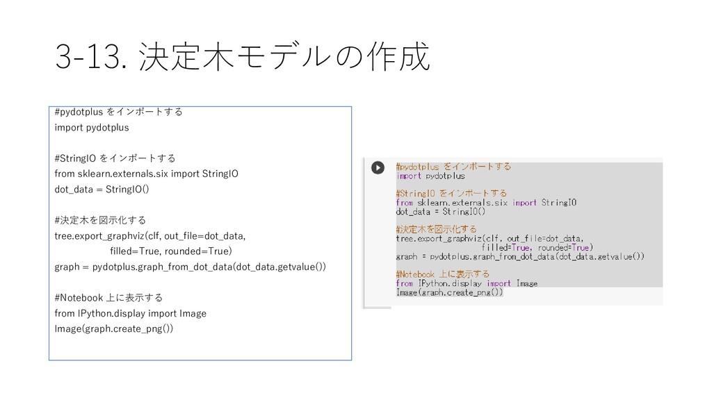 3-13. 決定木モデルの作成 #pydotplus をインポートする import pydo...