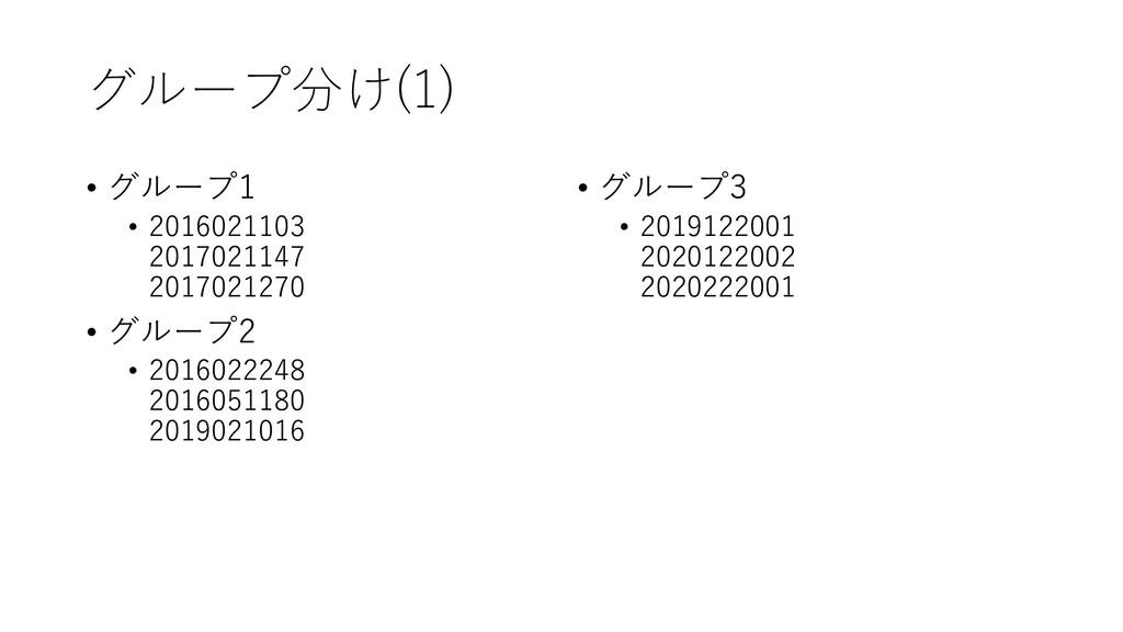 グループ分け(1) • グループ1 • 2016021103 2017021147 20170...