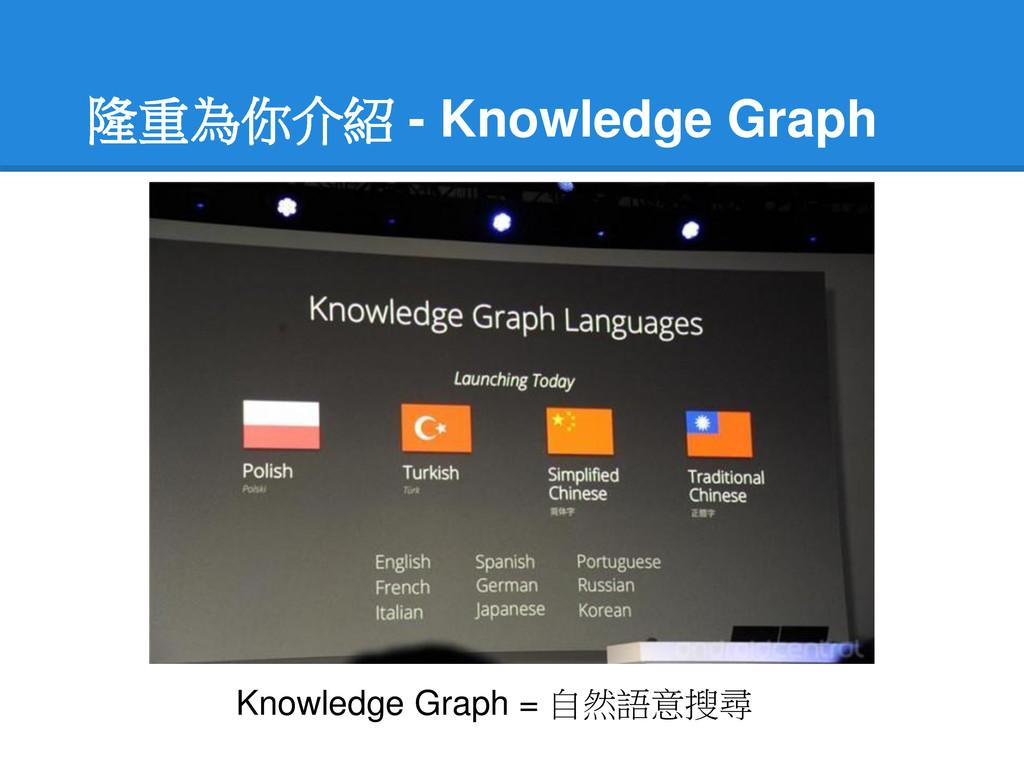 隆重為你介紹 - Knowledge Graph Knowledge Graph = 自然語意...