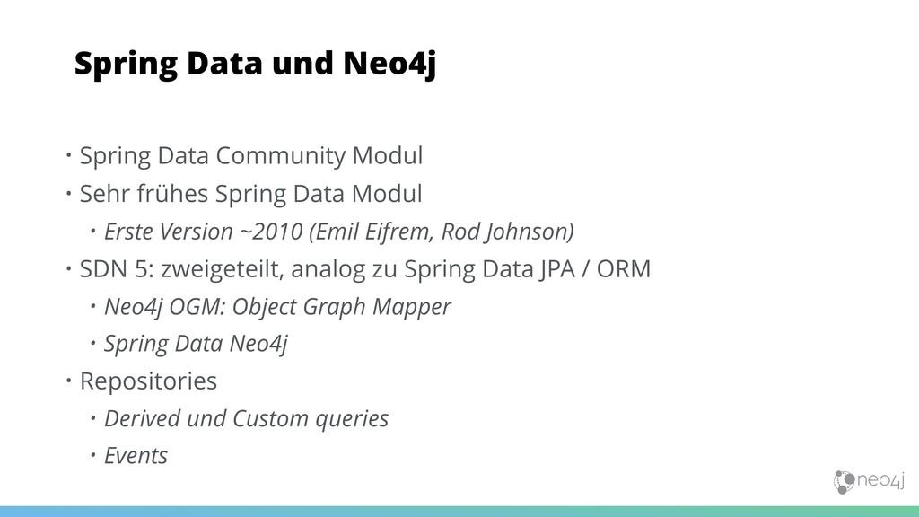 • Spring Data Community Modul • Sehr frühes Spr...