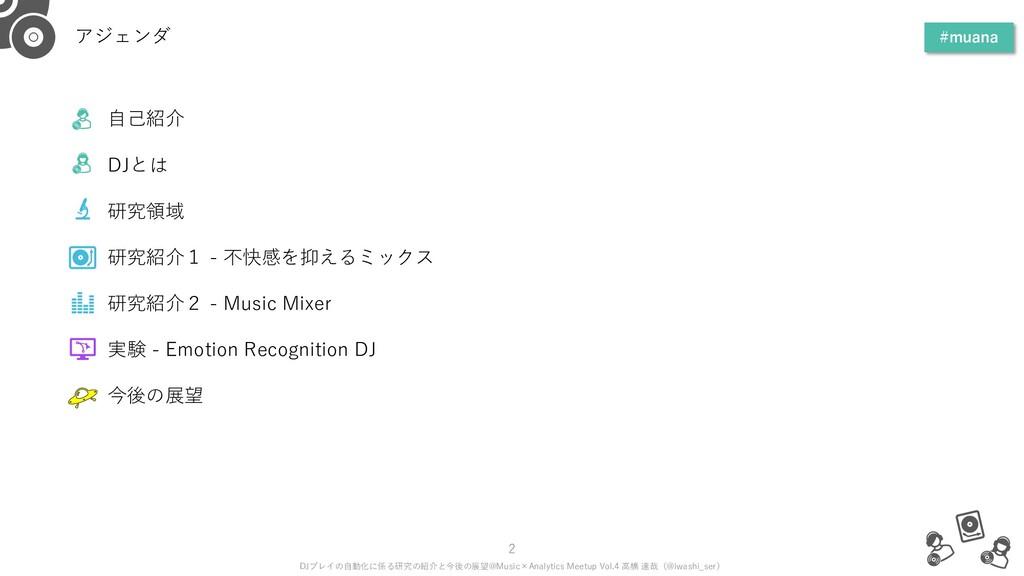 アジェンダ #muana 2 DJプレイの自動化に係る研究の紹介と今後の展望@Music×An...