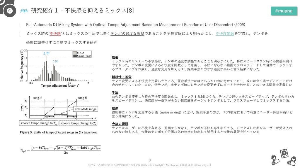 研究紹介1 - 不快感を抑えるミックス[8] #muana 9 DJプレイの自動化に係る研究の...