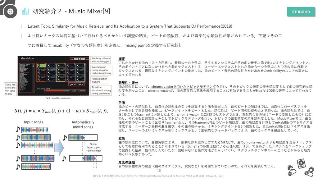 研究紹介2 - Music Mixer[9] #muana 10 DJプレイの自動化に係る研究...