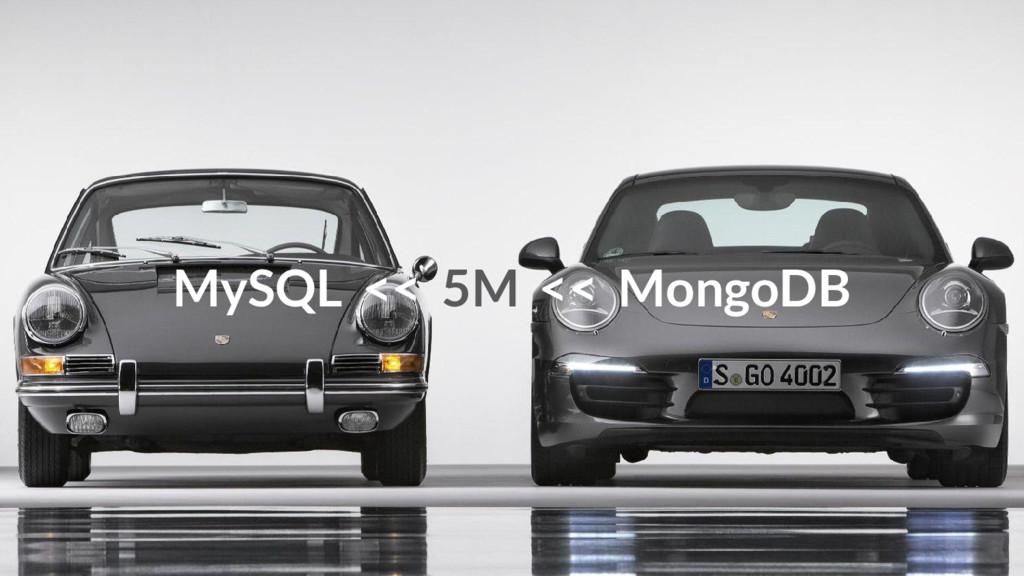 MySQL << 5M << MongoDB