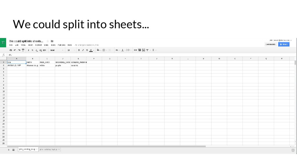We could split into sheets...