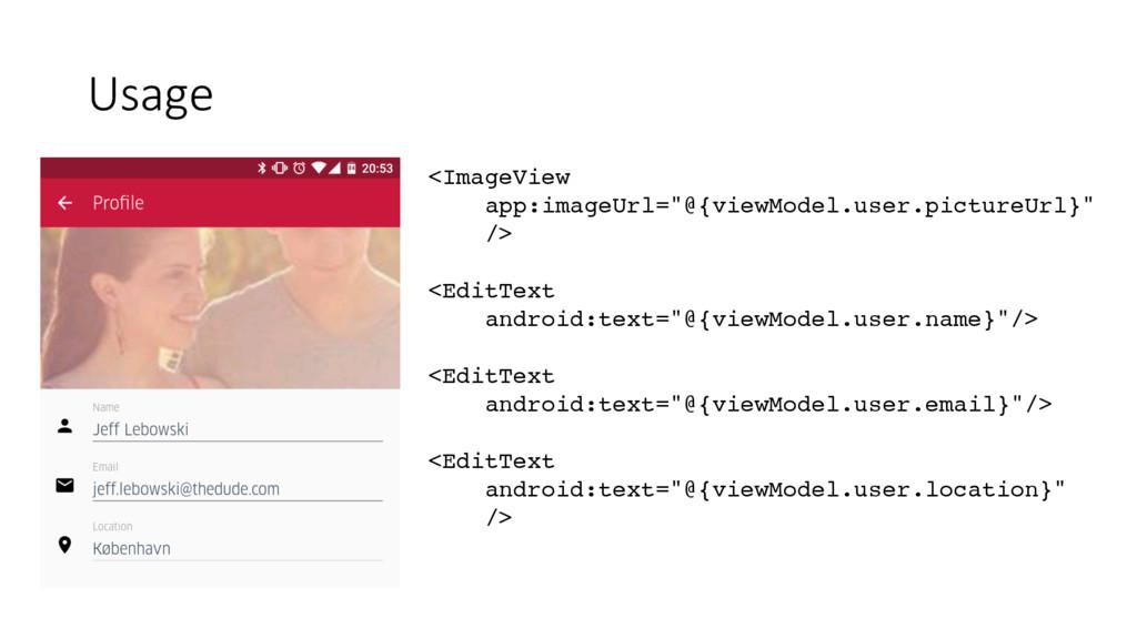 """Usage <ImageView app:imageUrl=""""@{viewModel.user..."""