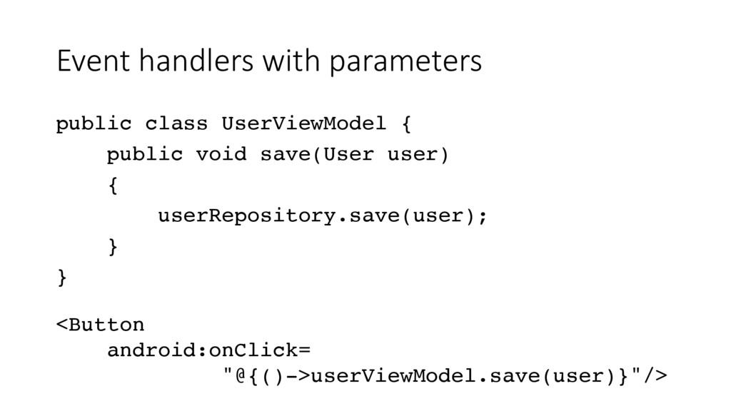 Event handlers with parameters public class Use...