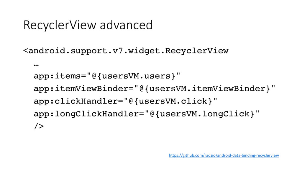RecyclerView advanced <android.support.v7.widge...