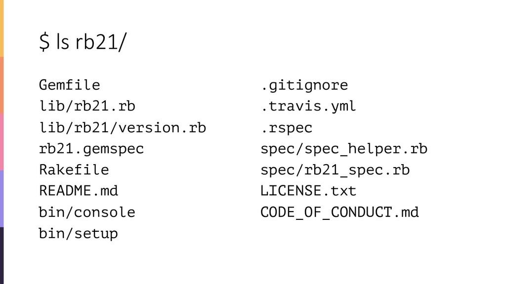 $ ls rb21/ Gemfile lib/rb21.rb lib/rb21/version...
