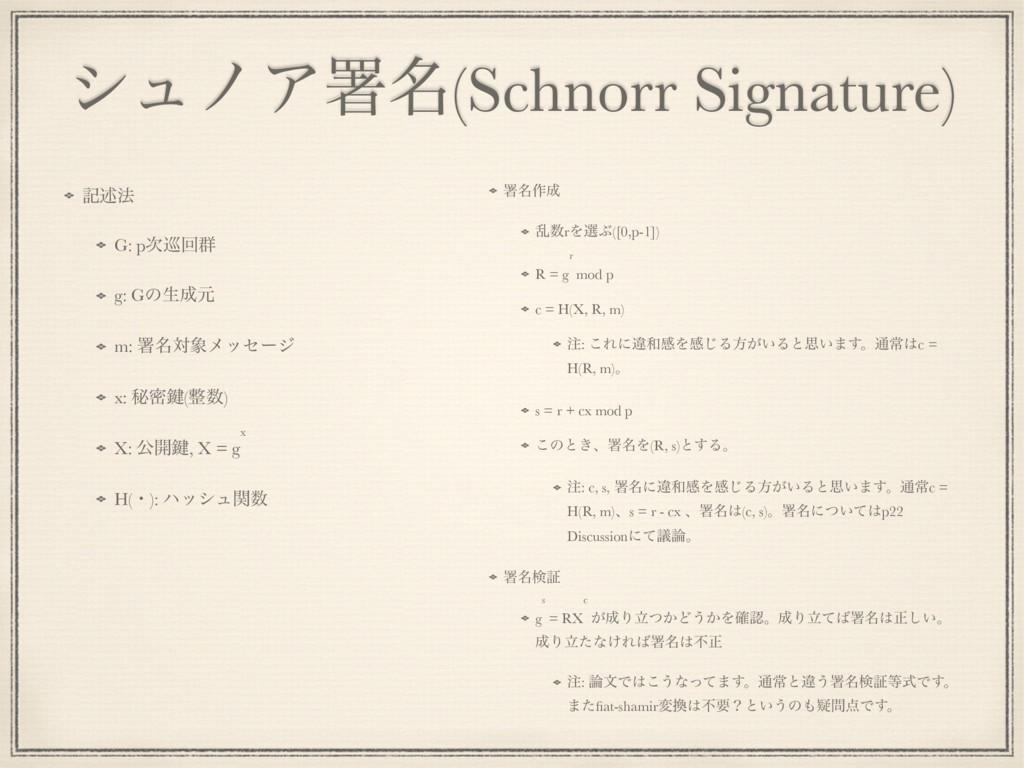 γϡϊΞॺ໊(Schnorr Signature) هड़๏ G: p८ճ܈ g: Gͷੜݩ...