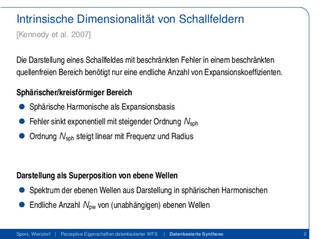 Intrinsische Dimensionalität von Schallfeldern ...