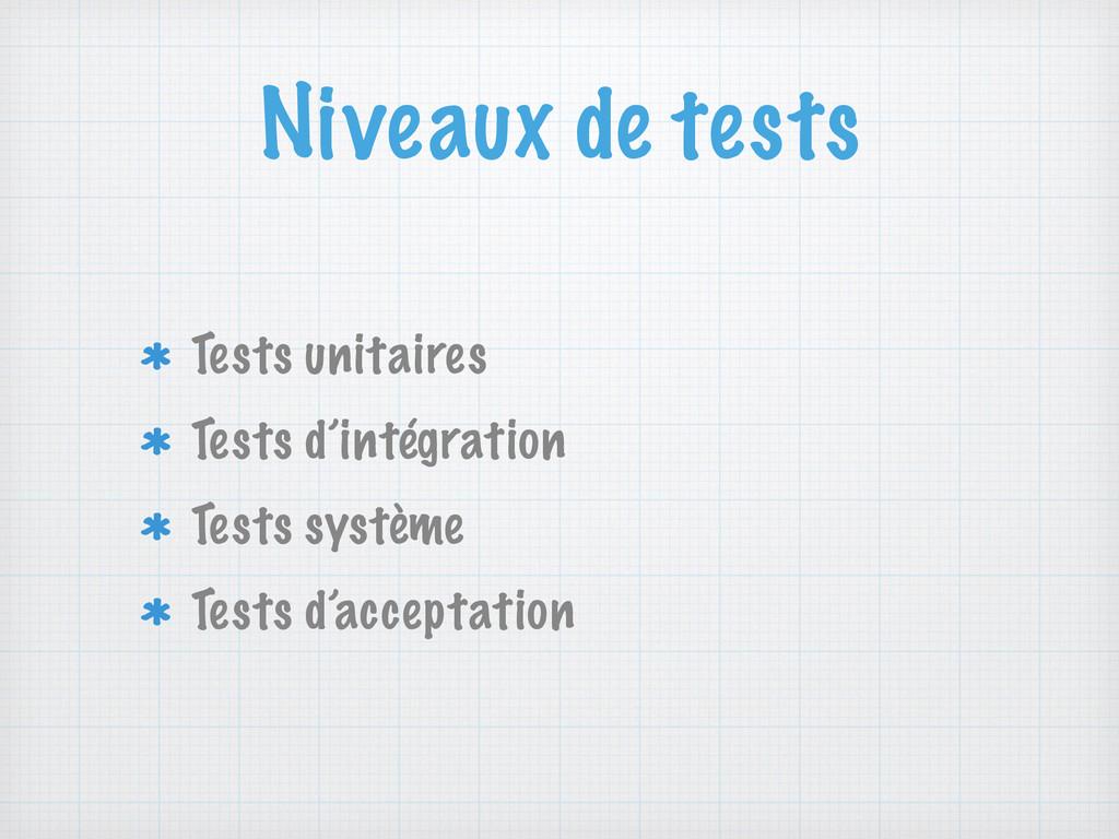 Niveaux de tests Tests unitaires Tests d'intégr...