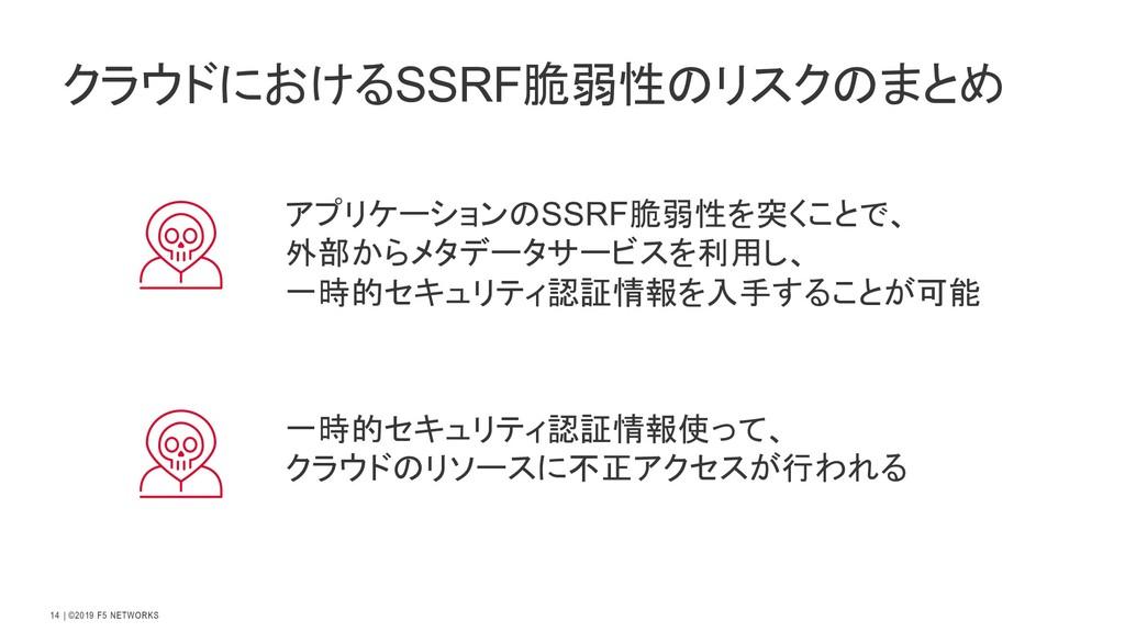   ©2019 F5 NETWORKS 14 アプリケーションのSSRF脆弱性を突くことで、 ...