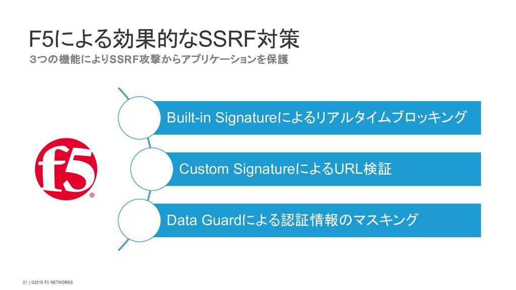   ©2019 F5 NETWORKS 21 F5による効果的なSSRF対策 3つの機能により...