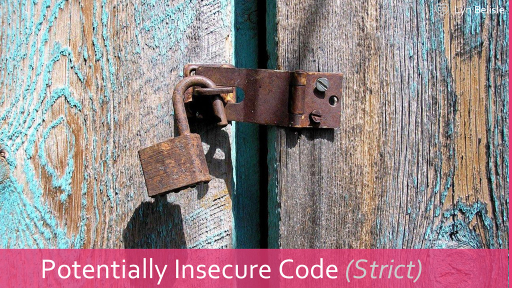 Lyn Belisle Potentially Insecure Code (Strict)