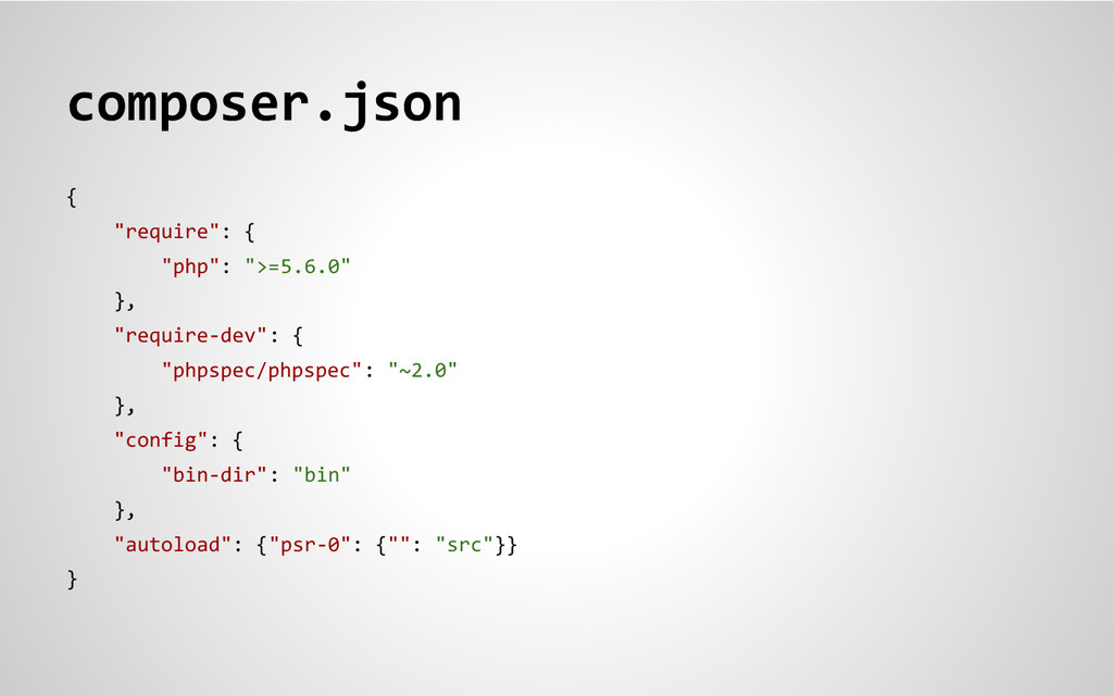 "composer.json { ""require"": { ""php"": "">=5.6.0"" }..."