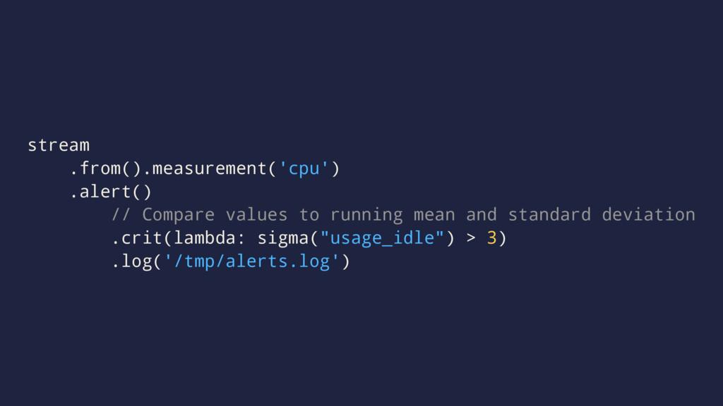 stream .from().measurement('cpu') .alert() // C...