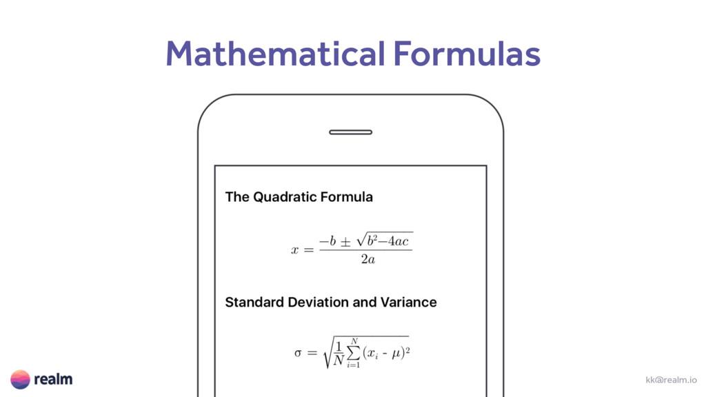 kk@realm.io Mathematical Formulas